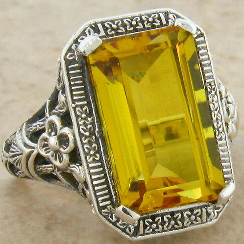 #124 - 6 Carat Citrine Antique Art Deco .925 Sterling Silver Filigree Ring.