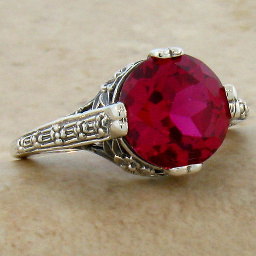 #111 - 3.50 Carat Ruby .925 Sterling Silver Antique Filigree Design Ring.