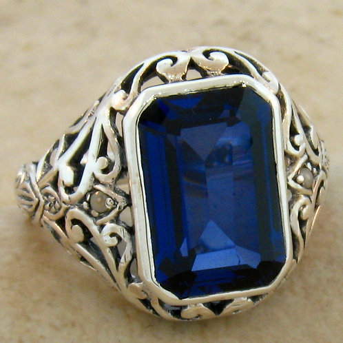 #181 - Antique Filigree 5 Carat Sapphire & Pearl .925 Sterling Silver Ring