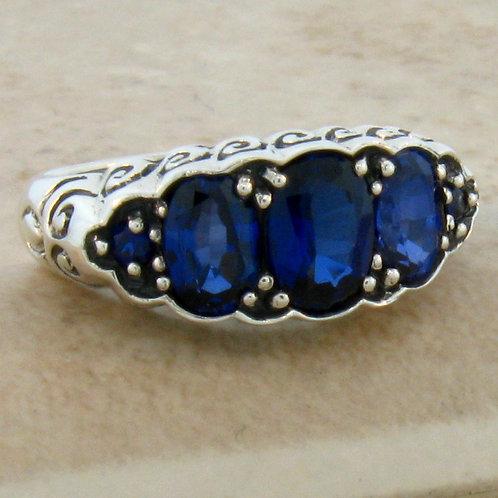 #182 - Royal Blue Sapphire Antique Art Nouveau Design .925 Sterling Silver Ring