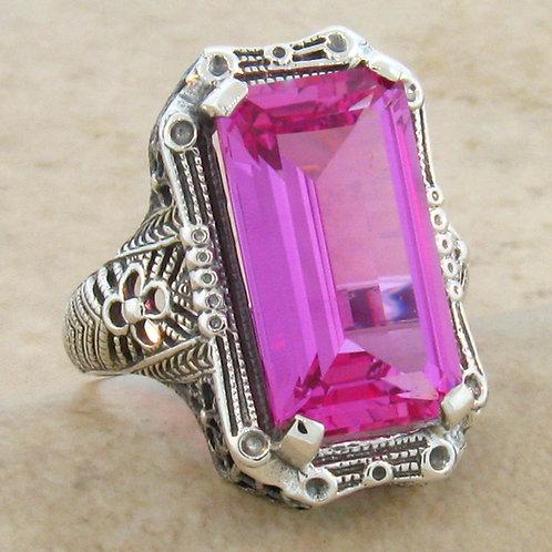 #102- 9 Carat Pink Sapphire Antique Design .925 Sterling Silver Filigree Ring