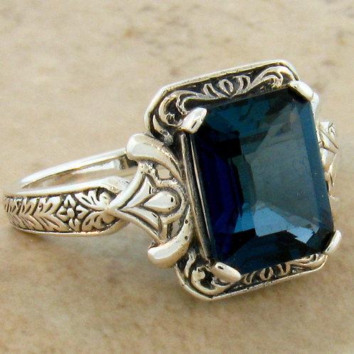 #202 – 4 Carat Genuine London Blue Topaz Antique Design .925 Sterling Silver Rin
