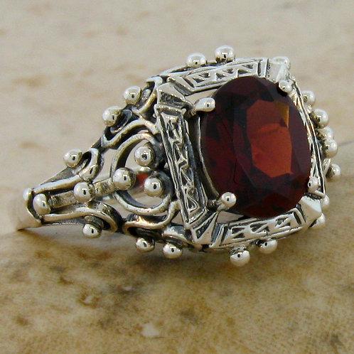 #250 – 2 Carat Garnet & .925 Sterling Silver Filigree Ring
