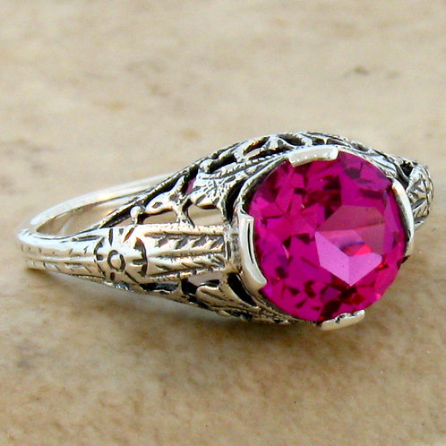 #238 – Beautiful Solitaire Ruby Antique Art Deco .925 SS Ring