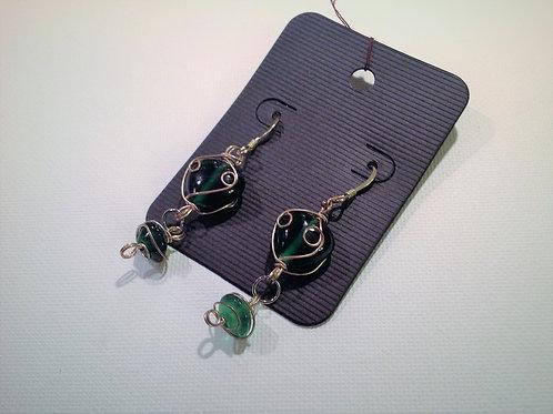 Item #811– Decorative green glass wire wrappeddropearrings