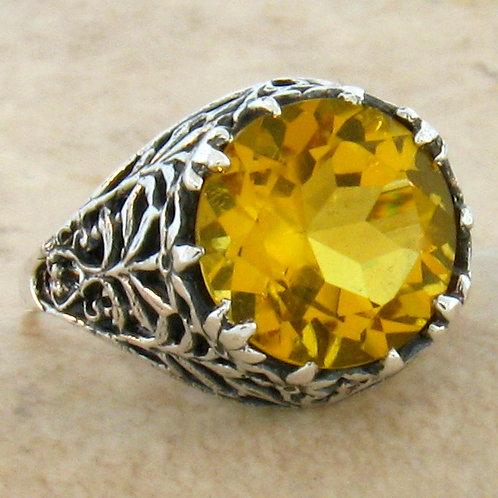 #231 – 3.50 Carat Golden Citrine .925 Sterling Silver Antique Filigree Ring