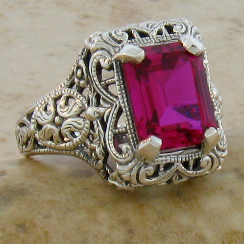 #216 – 5 Carat Ruby & .925 Sterling Silver Antique Art Deco Design Filigree Ring