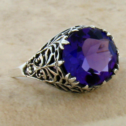 #229 – 4.50 Carat Amethyst .925 Sterling Silver Antique Filigree Ring