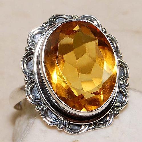 #305 – 10 carat Golden Citrine & 925 SolidSterlingSilverRing