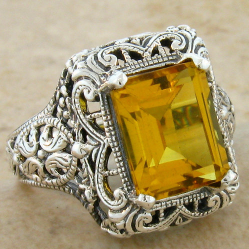 #172 – 3 Carat Citrine Antique Art Deco .925 Sterling Silver Filigree Ring