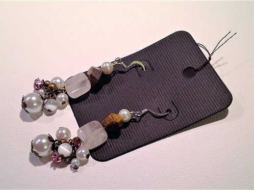 Item #817 –  Decorative Rose Quartz, Tigers Eye and Faux Pearl drop earrings