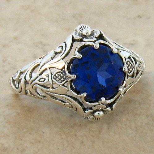 #164 - 2.50 Carat Blue Sapphire Antique Art Nouveau.925 Sterling Silver Filigree