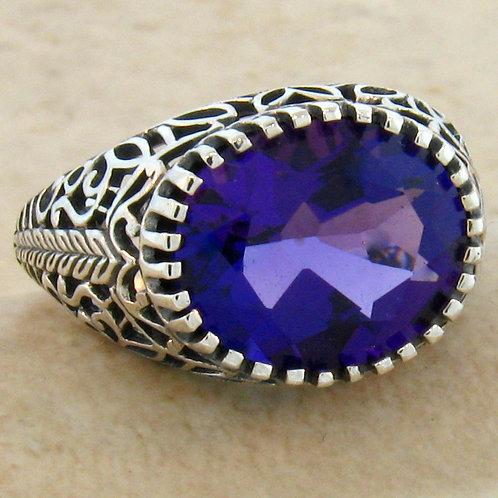 #106 - 3.50 Carat Amethyst Antique Filigree Design .925 Sterling Silver Ring.