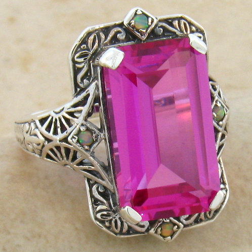#252 – Antique Filigree 8 Carat Pink Sapphire & Opal .925 Sterling Silver Ring
