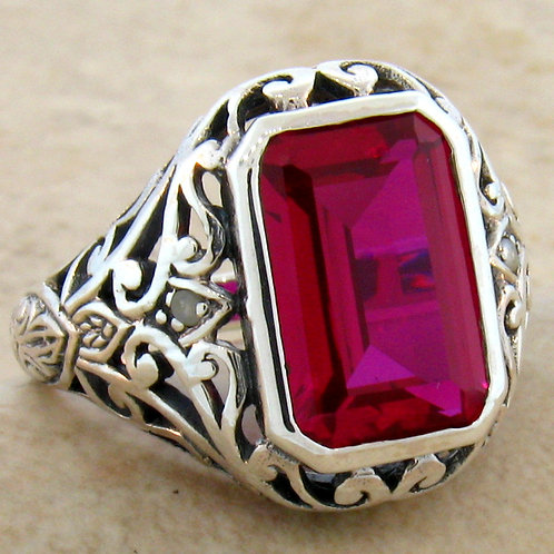 #189 – Antique Victorian Style 5 Carat Ruby .925 Sterling Silver Ring