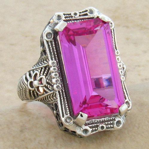 #230 – 9 Carat Pink Sapphire Antique Design .925 Sterling Silver Filigree Ring