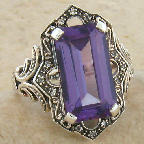 #211 – Victorian 6.50 Carat Color Changing Alexandrite and White Topaz SS Ring