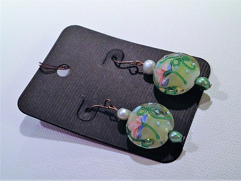 Item #814 –  Decorative baked glass and faux fresh pearl earrings