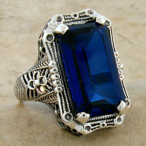 #155 - 9 Carat Blue Sapphire .925 Sterling Silver Antique Designed Art Deco Ring