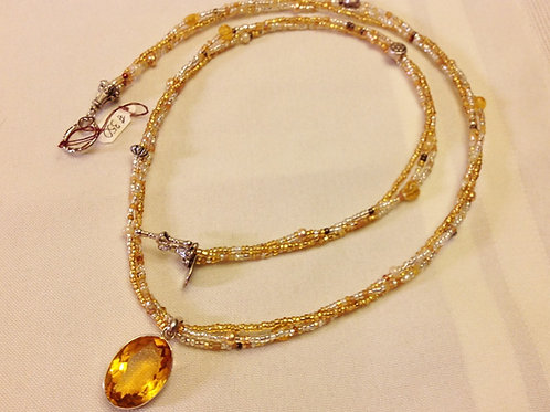 #350 - Multi strand necklace with Solid Sterling Golden Citrine Pendant