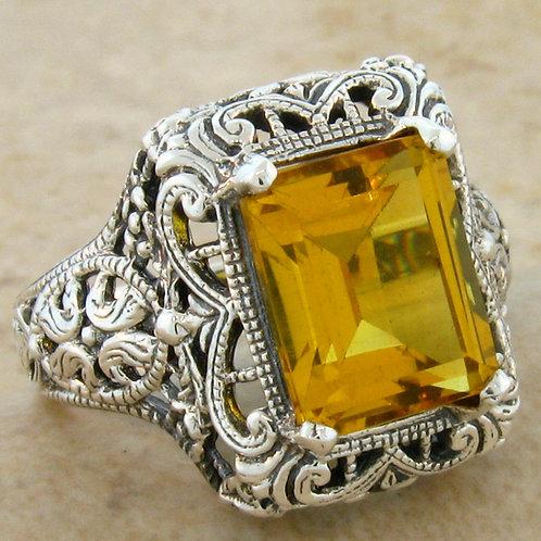 #232 – 3 Carat Citrine Antique Art Deco .925 Sterling Silver Filigree Ring
