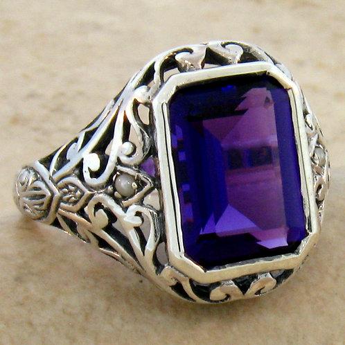 #217 – Victorian 3.50 Carat Amethyst .925 Sterling Silver Filigree Ring