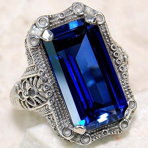 #312 – 10 carat Blue Sapphire & 925 SolidSterlingSilverfiligree ring