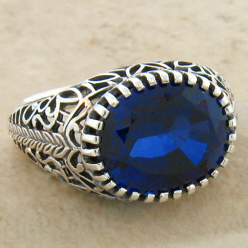 #215 – 6 Carat Sapphire Antique Design .925 Sterling Silver Filigree Ring