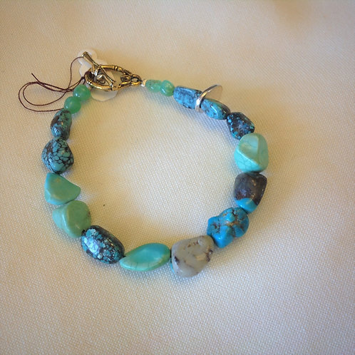 Item #538– Natural Turquoise Stones with Jade accents -Bracelet
