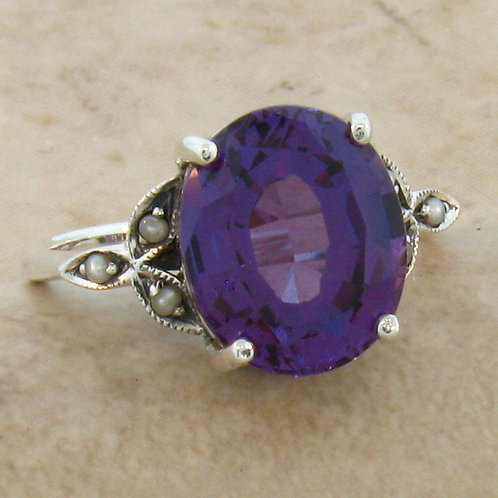 #101 - 6.50 Carat Color Changing Alexandrite .925 Sterling Silver Antique Victor