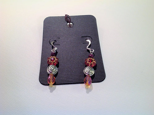 Item #813– Rose and gold in color, plastic, crystal & nickle stampedearrings