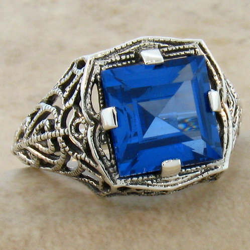 #174 - 4.5 Carat Blue Topaz Antique Art Deco .925 Sterling Silver Filigree Ring