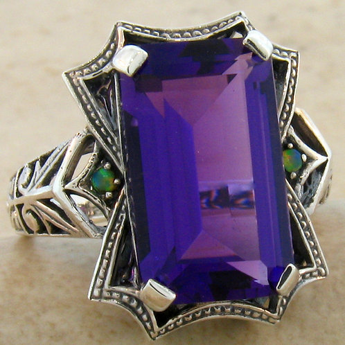 #193 – Victorian 6 Carat Amethyst and Opal Accents .925 Sterling Silver Ring