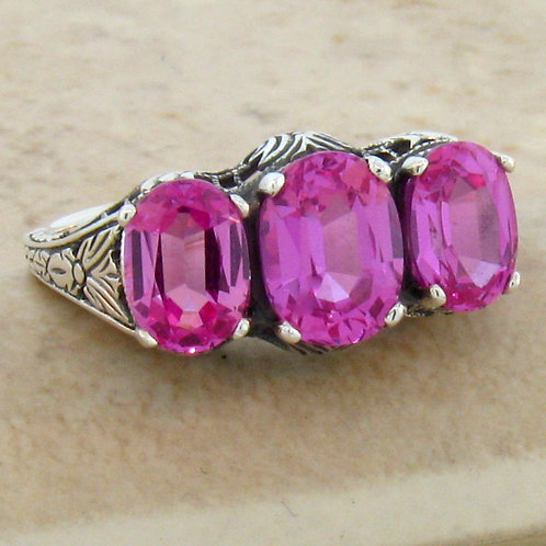 #218 – Antique Art Deco Style 3 Stone Pink Sapphire .925 SS Filigree Ring