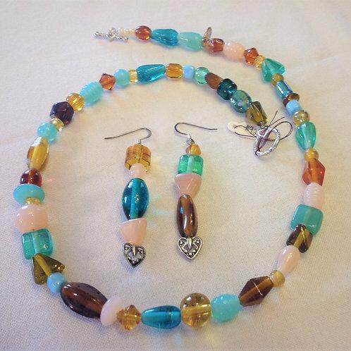 Item #929 - SIngle Strand - yellows, pinks, greens, decorative glass stones