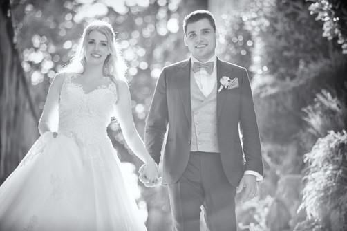 Brautpaar im Lichtspiel