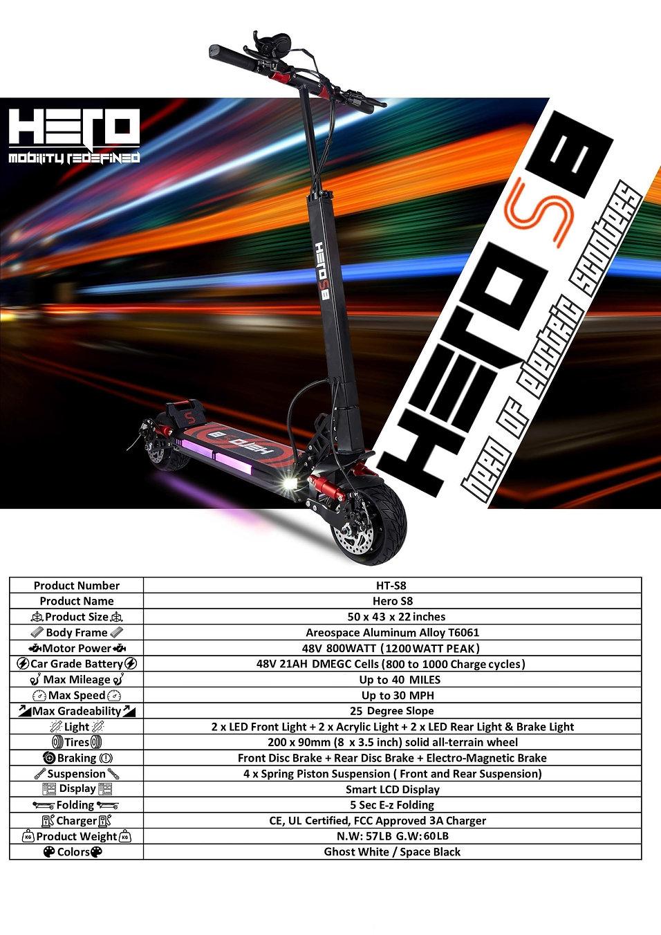 Hero S8 scooter Specs