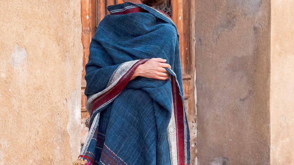 Indigo Kutchi Sheep Wool Shawl