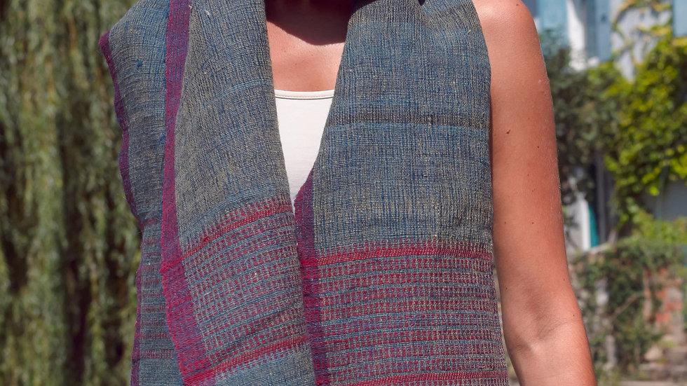 Étole Indigo-Lac en laine de mouton Kutchi