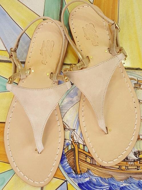 Sandalo Triangolo in camoscio e pelle.