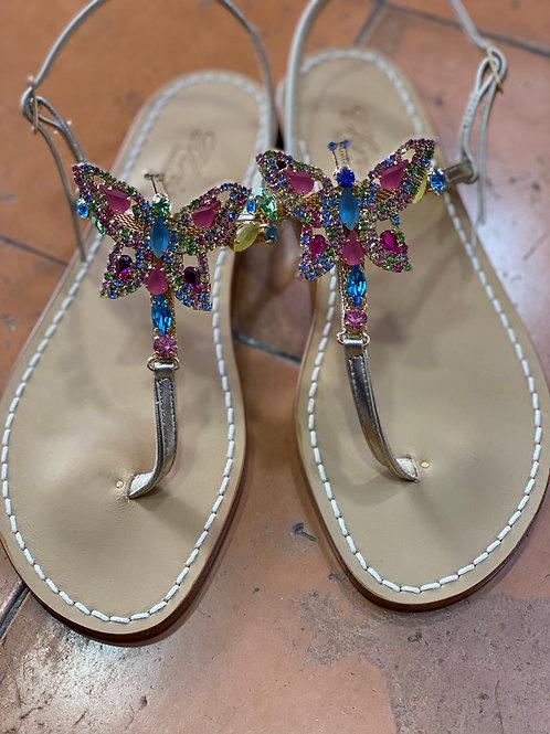 sandalo farfalla multicolore