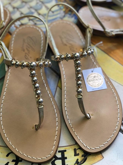 Sandalo swarovski perla grigia