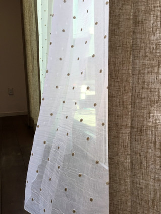 水玉模様(ドット)のカーテン製作