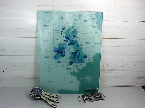 Shipping Forecast Glass Chopping Board - A3 Size