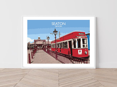 Seaton in Devon, England - Signed Travel Print by David at Salty Seas