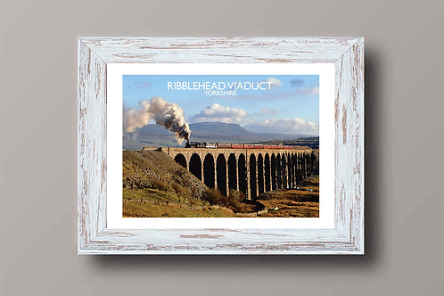 Ribblehead Viaduct in Yorkshire - Signed Travel Print by David at Salty Seas