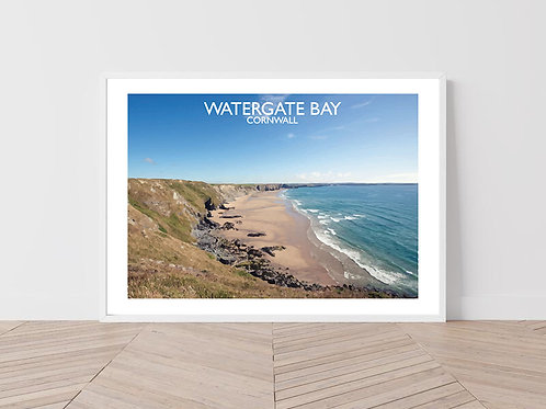 Watergate Bay in Cornwall, England - Signed Travel Print by David at Salty Seas