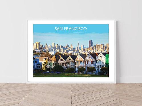 San Francisco, USA - Signed Travel Print by David at Salty Seas