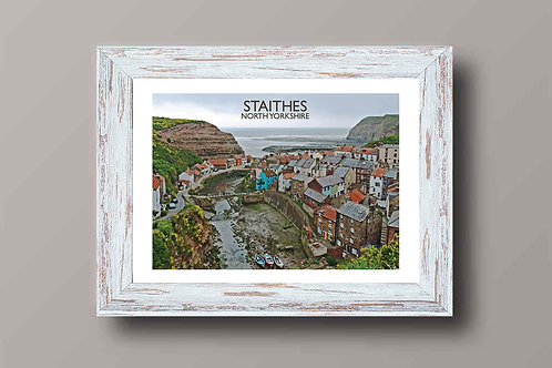 Staithes in Northumberland, England - Signed Travel Print by David at Salty Seas