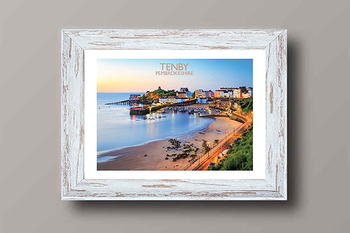 Tenby in Pembrokeshire, Wales - Signed Travel Print by David at Salty Seas